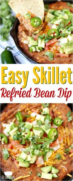 Easy Skillet Refried Bean Dip recipe from The Country Cook #appetizer #ideas #recipes #superbowl #vegetarian #easy
