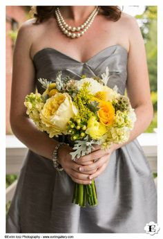 yellow gray flowers bouquet  wedding  ivrim icoz photography  sophisticated floral designs  portland oregon http://sophisticatedfloral.com