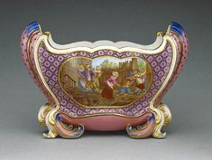 """1761 French Sèvres vase at the J. Paul Getty Museum, Los Angeles - From the curators' comments: """"The name of this vase, cuvette Mahon, refers to the British-occupied port of Mahón on the island of Minorca, which was captured by the French in 1756 at the beginning of the Seven Years' War. In addition to the cuvette Mahon, this French victory spawned other objects named after the town, including a sauce à la Mahonnaise, now known as mayonnaise."""" So now you get some food history trivia as well…"""
