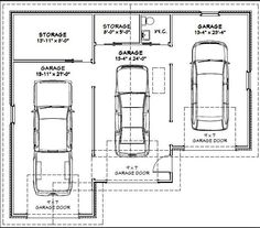 This is a must have! 3 car garage with plenty of room. Minus the sink, I'd take that out and keep the storage space larger. The correct dimensions would need to be (W) x (L) Garage Kits, 3 Car Garage, Garage House, Garage Plans, Garage Doors, Garage Shop, Carport Garage, Tandem Garage, Garage Dimensions
