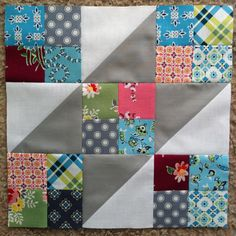 """Jacob's Ladder Block - uses 2.5"""" and 5"""" charm squares."""