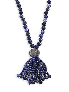 NEST Jewelry Long Sodalite Tassel Necklace - Available at www.SaksFifthAvenue.com