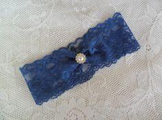 Something Blue Garter, lace garter, bridal accessory, wedding garter, navy blue garter, bridal garter,YOUR CHOICE COLOR,vintage style garter
