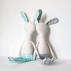 aqua bunny .. bunny doll rabbit doll rag by HappyLittleHeartToys