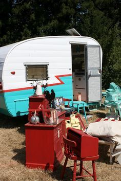Image result for vintage travel trailer red and white