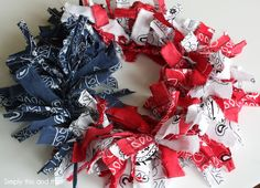 Here& another last minute holiday project that was super easy to pull together. I started this project late at night as I waited up for . 4th Of July Celebration, 4th Of July Party, Fourth Of July, Fabric Wreath, Diy Wreath, Wreath Crafts, Patriotic Wreath, 4th Of July Wreath, Bandana Crafts