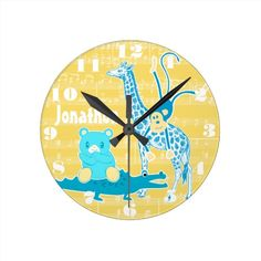 Personalized Yellow Blue Jungle Animal Wall Clock  Click on photo to purchase. Check out all current coupon offers and save! http://www.zazzle.com/coupons?rf=238785193994622463&tc=pin