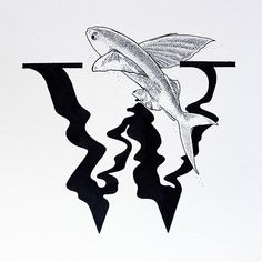 30 days of type #challenge #letter #W #water #graphicdesign #lettering #typography #handlettering #ink #illustration #flying #fish #black #design