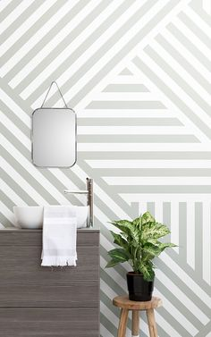 Browse & shop our range of bathroom-friendly wallpaper. Create the perfect bathroom ambience with one of our enhancing wall murals. Scandi Wallpaper, Wallpaper Toilet, Scandinavian Wallpaper, Scandinavian Bathroom, Striped Wallpaper, Bathroom Wallpaper, Modern Wallpaper, Bathroom Friendly Wallpaper, Bathroom Feature Wall