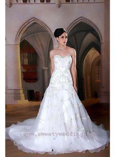A-line/Sheath Sweetheart Sleeveless Beading/Embroidery Empire Chapel Train Elegant Chiffon/Satin Wedding Dresses WE2066