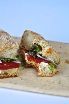 Two Blue Lemons: Roasted Pepper & Goat Cheese Sandwiches