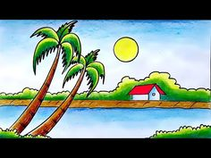 Oilpastel Drawing / Easy Oilpastel drawing / Scenery Drawing with Oil Pastel - YouTube Landscape Drawing For Kids, Drawing Images For Kids, Scenery Drawing For Kids, Landscape Drawings, Rainy Day Drawing, Drawing Sunset, Oil Pastel Colours, Madhubani Painting, Pastel Drawing