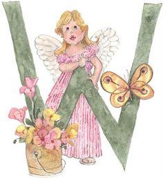 Um lindo alfabeto de anjos! Letras de anjos para scrapbook ou decoupage (decoupagem)! - Alfabetos Lindos