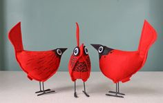 Wool Felt Pip Bird Comet Red por UpInFlight en Etsy