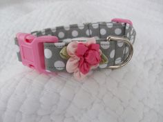 Dog Collar Grey polka dots with Pink  Shabby  flower Dog Collar Custom Sized. $14.50, via Etsy.