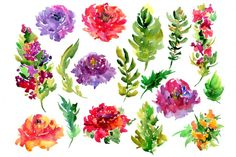 Bright watercolor flowers, 17 png By WatercolorFlowers