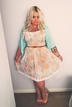 Super cute plus size girl, floral dress, blue