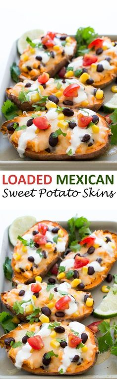 Loaded Mexican Sweet Potato Skins topped with Monterey jack cheese, black beans, corn and tomatoes.