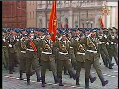 Soviet VDV paratroopers and officers marching through Red Square in the 1985 Moscow Victory Day Parade.