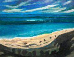 Blue beach ocean painting Paul Bogdanovic 2013 by PaintingsByPaulB, $50.00