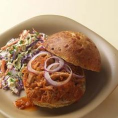 Healthy Barbecue Pulled Chicken. Made in a crock pot!!! so its easy too!