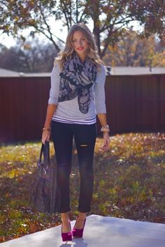 Colored pumps with scarf and bag subtle accessories that work