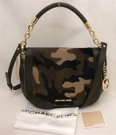 84924a8f0ff3 Michael Kors STANTHORPE Medium Camo Haircalf Shoulder Handbag in Duffle for  sale online