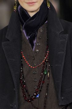 navy blue jacket. gray buttoned vest. purple velvet scarf (Ralph Lauren Fall 2013)