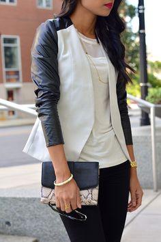 {black & white faux leather}
