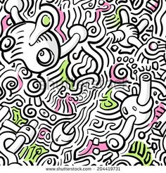 Abstract seamless vector line art pattern
