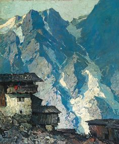 "catonhottinroof: "" Oskar Mulley (1891–1949) Homestead in the mountains, in the background rock faces with glacier tongues, c. 1930 """