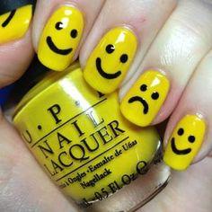 Happy face yellow nails