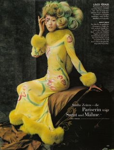 Ling Tan in Louis Féraud Haute Couture, photographed by Ruven Afanador for Vogue Germany October 1997 Yellow Fashion, Colorful Fashion, Bold Fashion, Vintage Fashion, Louis Féraud, Fairytale Fashion, Vogue, French Fashion Designers, Fantasy Hair