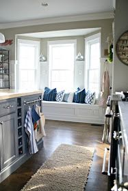 Thrifty Decor Chick: The Kitchen That Sarah Built Classic Furniture, Cheap Furniture, Discount Furniture, Kitchen Furniture, Furniture Nyc, Kitchen Cabinets To Ceiling, Kitchen Window Blinds, Bay Window In Kitchen, Cupboards