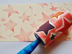 Take a sticky roll lint remover, add some raised craft foam shapes and you have a great new way to stamp out some art! Then u peel off the outer layers and can make a different one! Brilliant!