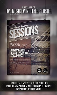 Live Music Event Flyer / Poster Template PSD #design Download: http://graphicriver.net/item/live-music-event-flyer-poster/13610789?ref=ksioks