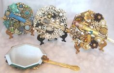 Barbie 1959 Was The Year That She Introduced Evening Splendor OOAK Vintage Jewelry Art Hand Mirror. $102.00, via Etsy.