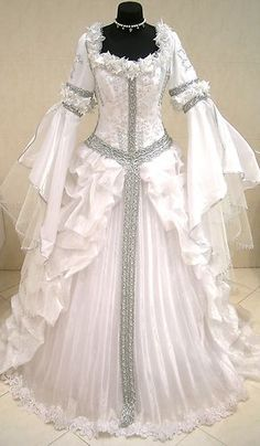 Silver Medieval Wedding Dress Victorian Goth LARP M L XL 14 16 18 White Pary | eBay (For Halloween, Miss Parsons always dresses as a Renaissance theatrical character. This was her gown for Titania, with a crown of paste diamond stars and flowers in her hair.)