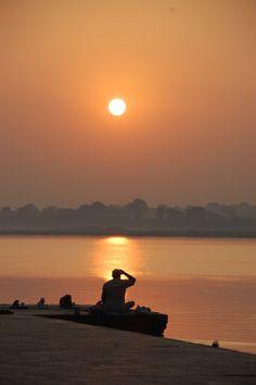 Sunset over the ghats - The Narmada River Maheshwar