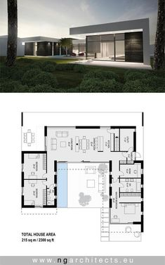 Modern villa AJ designed by NG architects www. Modern villa AJ designed by NG archite. Modern House Floor Plans, New House Plans, Living Haus, Villa Plan, Modern Villa Design, House Blueprints, Modern Architecture House, Architecture Tools, Bauhaus Architecture