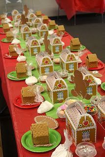 Gingerbread house making party - used gingerbread boxes from Oriental Trading for the kids to bring home their creations in.