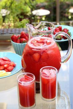 Homemade strawberry lemonade, made in the blender using lemons, strawberries and honey.