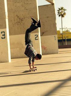on a skate board