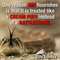 One reason sin flourishes is that it is treated like a cream puff instead of a rattlesnake. -Billy Sunday