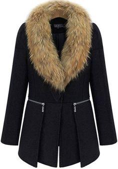 Black Plain Zipper Wool Coat
