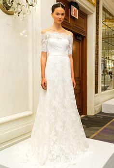 A lacy @marchesafashion wedding dress   Brides.com