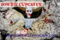 Zombie party cupcakes #zombies