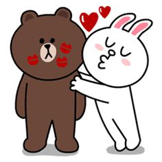 Yes it's finally happened! Brown & Cony are secretly dating! These stickers are a must have for every lovey-dovey couple! - includes a lot of hugs & kisses. Cartoon Stickers, Love Stickers, Line Cony, Cony Brown, Brown Bear, Bear Gif, Cute Couple Cartoon, Twin Flame Love, Bunny And Bear