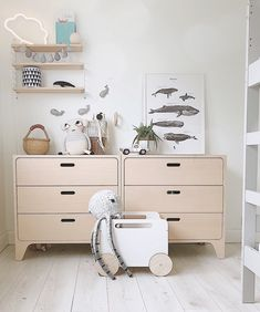 Scandinavian inspired nursery room interior with a touch of nautical theme. Nursery Themes, Nursery Room, Boy Room, Natural Wood Furniture, Diy Kids Furniture, Kids Bedroom Dream, Whale Decor, Toy Storage, Storage Ideas