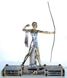 French Art Deco Diana the Huntress Statue Sculpture Artist Daverny